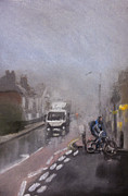 Traffic Pastels Prints - Foggy Herne Bay 2 Print by Paul Mitchell