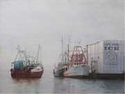 Tall Ships. Marine Art Paintings - Foggy morning at Cape Pond Ice by Phil Cusumano