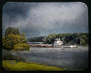 Towboat Framed Prints - Foggy Morning at the Barge Harbor Framed Print by Al  Mueller