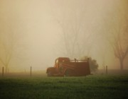 Truck Digital Art Originals - Foggy Morning fire Truck by Michael Thomas