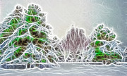Wintry Mixed Media Prints - Foggy Morning Landscape 17 - Fractal Abstract Print by Steve Ohlsen