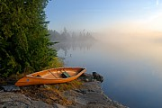 Canoe Prints - Foggy Morning on Spice Lake Print by Larry Ricker