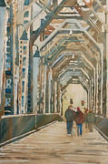 Rust Paintings - Foggy Morning on the Railway Bridge One by Jenny Armitage