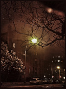 Foggy Street Scene Acrylic Prints - Foggy Night in Brooklyn Acrylic Print by RC Candolin-Gelber
