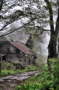 Abandoned Houses Posters - Foggy Past Poster by Emily Stauring