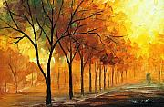 City Park Painting Originals - Foggy Path by Leonid Afremov