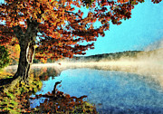 Fall Colors Autumn Colors Posters - Foggy Price Lake After Sunrise AP Poster by Dan Carmichael
