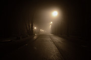 Night Lamp Framed Prints - Foggy road at night Framed Print by Mats Silvan