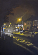 Roads Pastels Posters - Foggy Street 5 Poster by Paul Mitchell