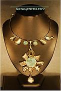 Music Jewelry - Foiled Turtle Shell and Turquoise Necklace by Janine Antulov
