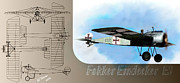 Fighter Framed Prints - Fokker Eindecker EIII Framed Print by Arne Hansen