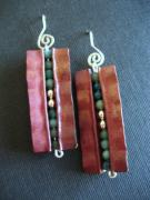 Metal Jewelry - Fold-formed copper earrings by Marilyn Bohanan