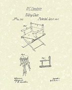Lawn Chair Drawings Prints - Folding Chair 1862 Patent Art  Print by Prior Art Design