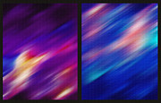 Blurs Mixed Media Prints - Folds of Color - Abstract Diptych Print by Steve Ohlsen