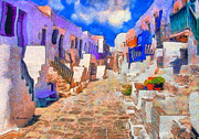 Surreal Landscape Painting Metal Prints - Folegandros Metal Print by George Rossidis