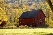 Red Barn. New England Prints - Foliage in Kent Connecticut Print by Sabine Jacobs