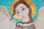 Angel Art Painting Originals - Folk Angel by Sacred  Muse