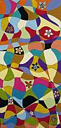 Folk Art Abstract Prints - Folk Art Abstract Painting With Flowers  Print by Karla Gerard