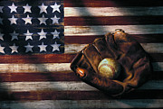 Red Photo Framed Prints - Folk art American flag and baseball mitt Framed Print by Garry Gay