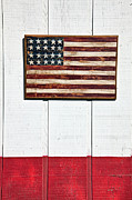 Stripes Framed Prints - Folk art American flag on wooden wall Framed Print by Garry Gay