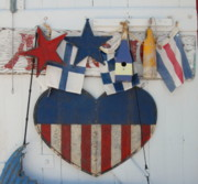 Surf Photos Art Posters - Folk Art And Flags Poster by Joyce StJames