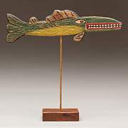 Muskie Reliefs Framed Prints - Folk Art Fish Framed Print by James Neill