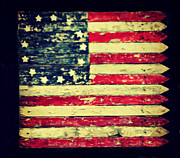 Folk Art American Flag Photos - Folk Art Flag by Robin Dickinson