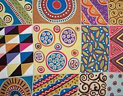 Folk Art Abstract Prints - Folk Art Sampler Print by Karla Gerard