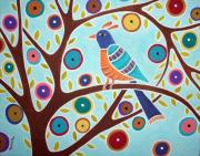 Unique Bird Posters - Folk Bird In Tree Poster by Karla Gerard
