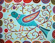 Folk Art Abstract Prints - Folk Bird Print by Karla Gerard