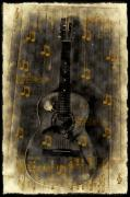 Guitar Digital Art Posters - Folk Guitar Poster by Bill Cannon