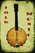 Mandolin Posters - Folk Music Poster by Bill Cannon