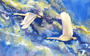 Swans... Paintings - Follow the Leader by Karen A Robinson