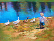 Water Play Pastels - Follow The Leader by M Diane Bonaparte