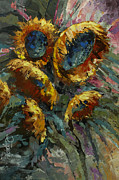 Pallet Knife Framed Prints - Follow the Sun 2 Framed Print by Michael Lang