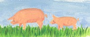 Piglet Paintings - Following Mom by Heather Walker