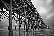 Grass Prints - Folly Beach Pier Black and White Print by Dustin K Ryan