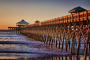Wood Pylons Photos - Folly Beach Pier by Lynne Jenkins