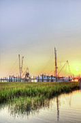 Fishing Creek Metal Prints - Folly Fishing Boats  Metal Print by Drew Castelhano