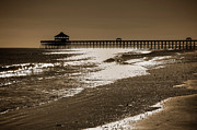 Sepia Posters - Folly Pier Sunset Poster by Drew Castelhano