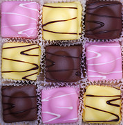 Icing Posters - Fondant Fancies Poster by Jane Rix