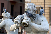 Art Sculptures Framed Prints - Fontana del Moro in Piazza Navona. Rome Framed Print by Bernard Jaubert