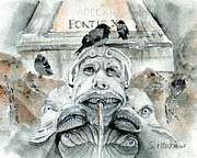Gargoyle Paintings - Fontana del Pantheon by Sheryl Heatherly Hawkins