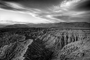 Badlands Photos - Fonts Point Overlook   Black and White by Peter Tellone