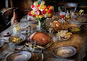 Tea Party Metal Prints - Food - Easter Dinner Metal Print by Mike Savad
