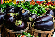 Restaurant Wall Art Prints - Food - Farm Fresh - Eggplant and Peppers Print by Paul Ward