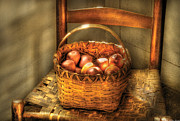 Basket Prints - Food - Fresh Peaches  Print by Mike Savad