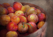 Peaches Photo Metal Prints - Food - Peaches - Farm fresh peaches  Metal Print by Mike Savad