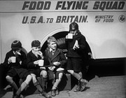 Front Four Posters - Food Flying Squad Poster by Fox Photos