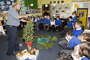 Discussing Photo Framed Prints - Food Growing Demonstration In School Framed Print by Paul Rapson